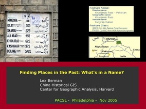 Lex Berman on Finding Places in the Past: What's in a Name?