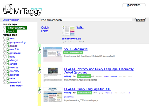 Mr. Taggy search results for void, filtered by semantic web